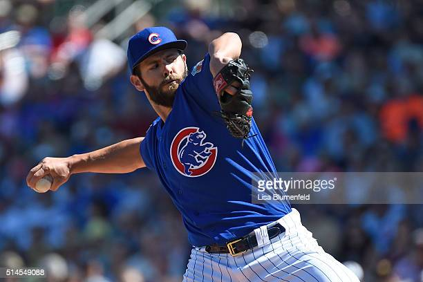 Jake Arrieta of the Chicago Cubs pitches against the Cleveland Indians at Sloan Park on March 9 2016 in Mesa Arizona