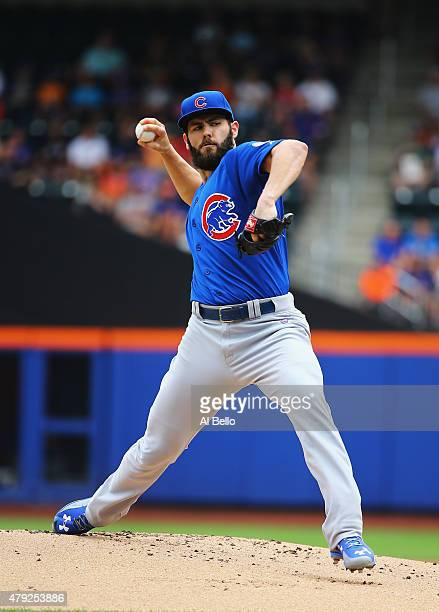 Jake Arrieta of the Chicago Cubs pitches against the New York Mets during their game at Citi Field on July 2 2015 in New York City