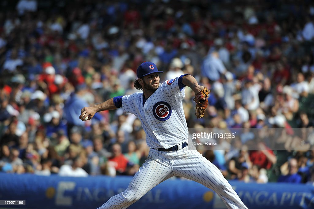 <a gi-track='captionPersonalityLinkClicked' href=/galleries/search?phrase=Jake+Arrieta&family=editorial&specificpeople=5437045 ng-click='$event.stopPropagation()'>Jake Arrieta</a> #49 of the Chicago Cubs pitches against the Philadelphia Phillies on September 1, 2013 at Wrigley Field in Chicago, Illinois.