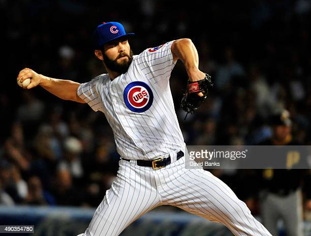 Jake Arrieta of the Chicago Cubs pitches against the Pittsburgh Pirates during the first inning on September 27 2015 at Wrigley Field in Chicago...