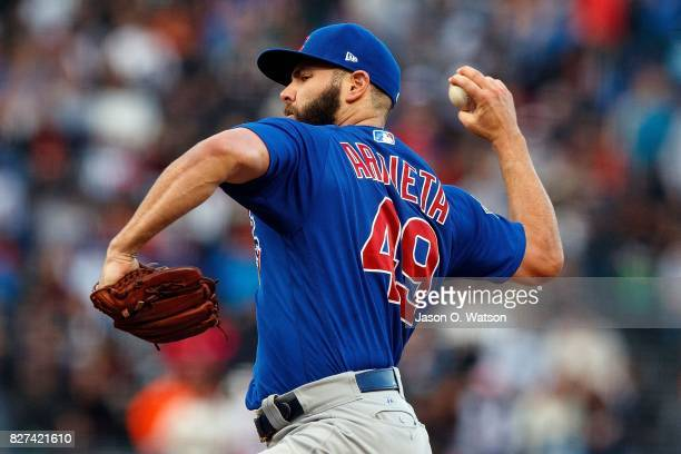 Jake Arrieta of the Chicago Cubs pitches against the San Francisco Giants during the first inning at ATT Park on August 7 2017 in San Francisco...