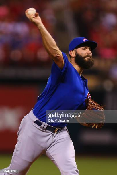Jake Arrieta of the Chicago Cubs pitches against the St Louis Cardinals in the first inning at Busch Stadium on September 26 2017 in St Louis Missouri