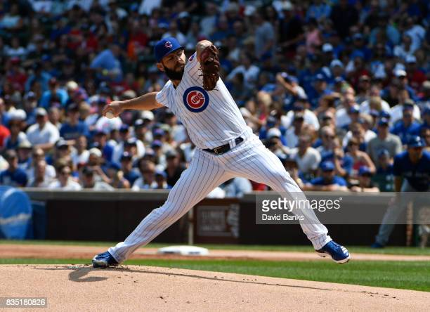 Jake Arrieta of the Chicago Cubs pitches against the Toronto Blue Jays during the first inning on August 18 2017 at Wrigley Field in Chicago Illinois