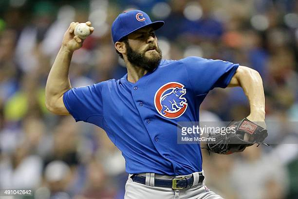 Jake Arrieta of the Chicago Cubs pitches during the first inning against the Milwaukee Brewers at Miller Park on October 02 2015 in Milwaukee...