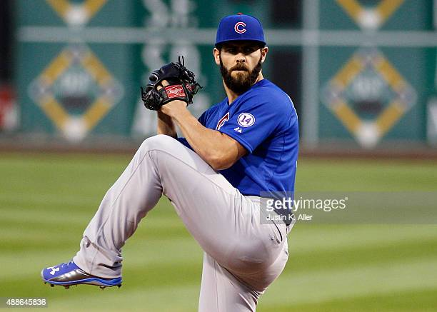 Jake Arrieta of the Chicago Cubs pitches in the first inning during the game against the Pittsburgh Pirates at PNC Park on September 16 2015 in...