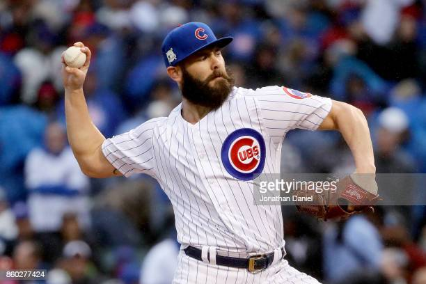 Jake Arrieta of the Chicago Cubs pitches in the first inning during game four of the National League Division Series against the Washington Nationals...