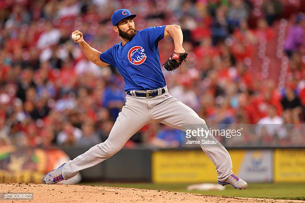 Jake Arrieta of the Chicago Cubs pitches in the second inning against the Cincinnati Reds at Great American Ball Park on April 21 2016 in Cincinnati...