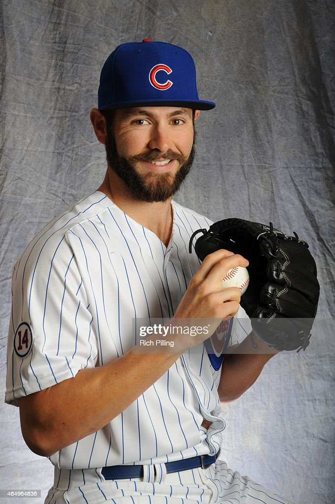 Jake Arrieta #49 of the Chicago Cubs poses for a portrait during Photo Day on March 2, 2015 at Sloan Park in Mesa, Arizona.