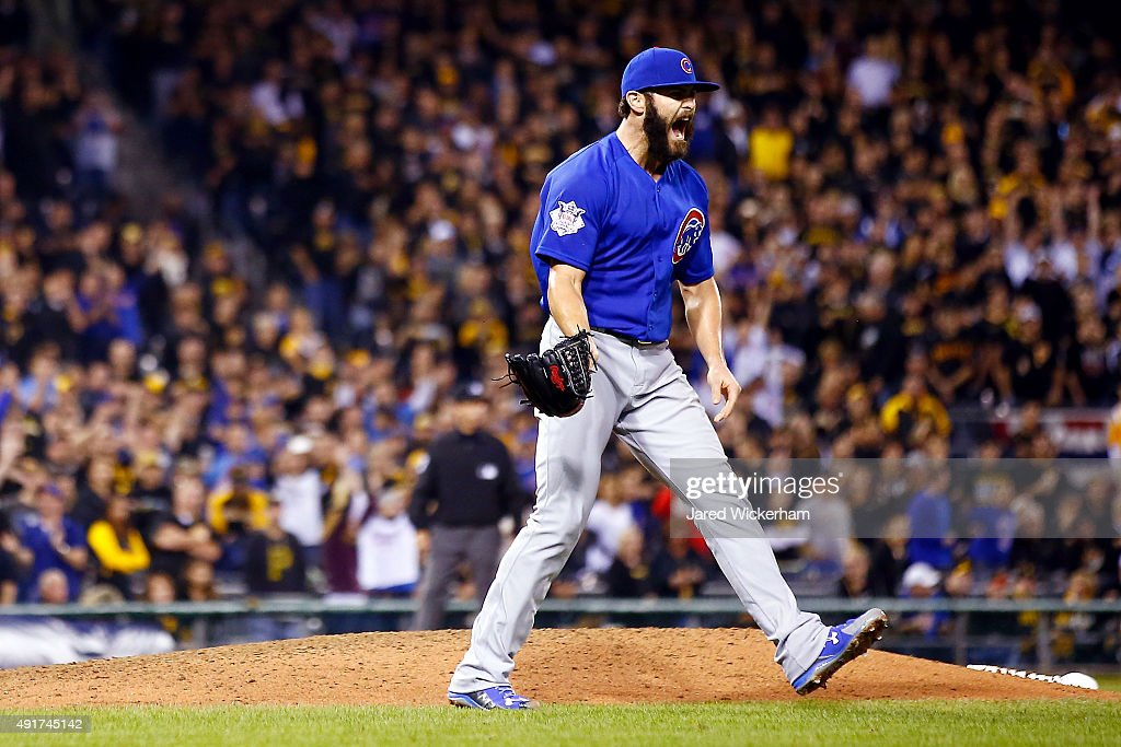 Jake Arrieta #49 of the Chicago Cubs reacts after defeating the Pittsburgh Pirates to win the National League Wild Card game at PNC Park on October 7, 2015 in Pittsburgh, Pennsylvania. The Chicago Cubs defeated the Pittsburgh Pirates with a score of 4 to 0.