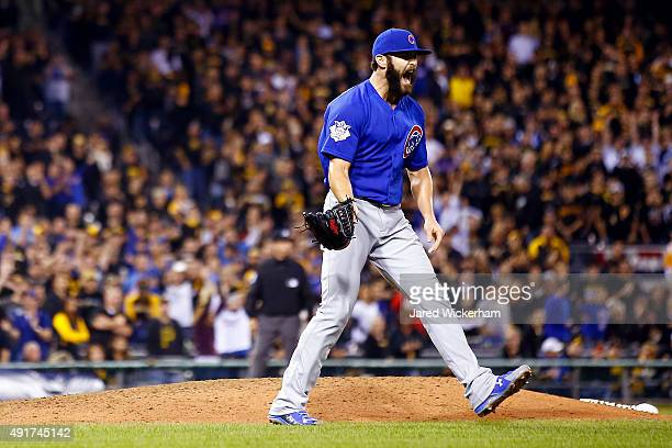 Jake Arrieta of the Chicago Cubs reacts after defeating the Pittsburgh Pirates to win the National League Wild Card game at PNC Park on October 7...
