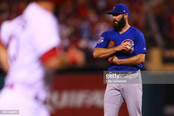 Jake Arrieta of the Chicago Cubs reacts after giving up a tworun home run against the St Louis Cardinals in the second inning at Busch Stadium on...