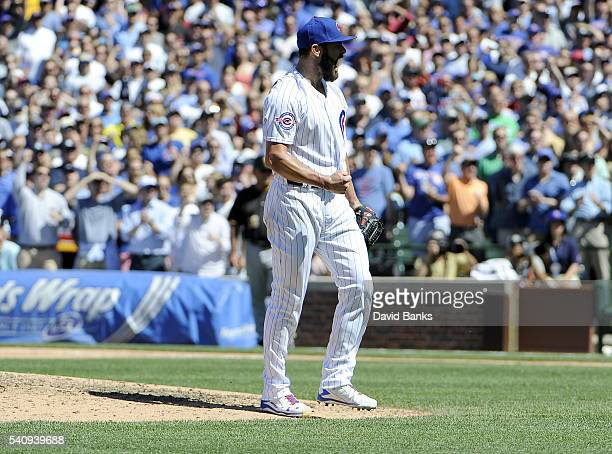 Jake Arrieta of the Chicago Cubs reacts after striking out Matt Joyce of the Pittsburgh Pirates for the final out with the bases loaded during the...