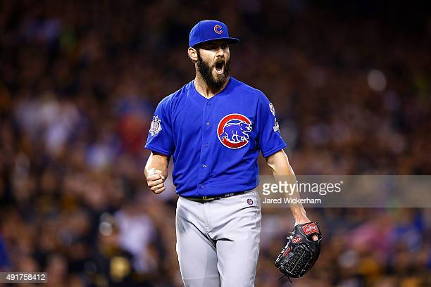 Jake Arrieta of the Chicago Cubs reacts after the eighth inning against the Pittsburgh Pirates during the National League Wild Card game at PNC Park...