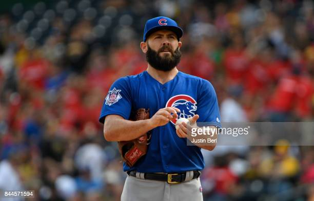 Jake Arrieta of the Chicago Cubs reacts during the game against the Pittsburgh Pirates at PNC Park on September 4 2017 in Pittsburgh Pennsylvania