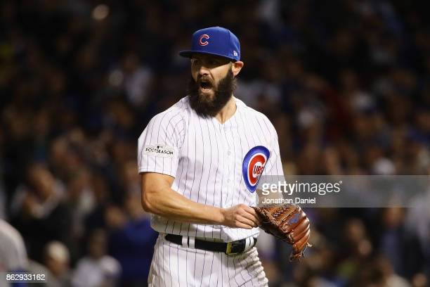 Jake Arrieta of the Chicago Cubs reacts in the middle of the sixth inning against the Los Angeles Dodgers during game four of the National League...