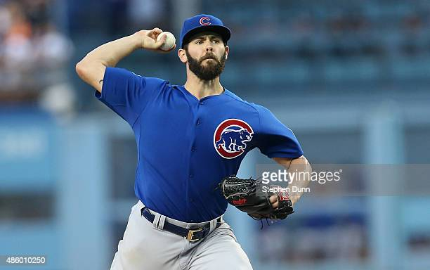 Jake Arrieta of the Chicago Cubs throws a pitch against the Los Angeles Dodgers at Dodger Stadium on August 30 2015 in Los Angeles California