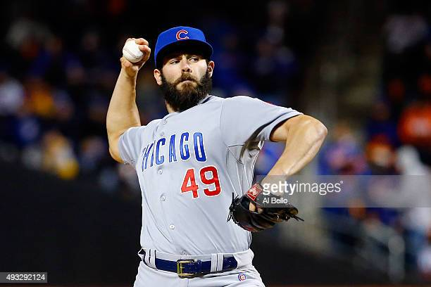 Jake Arrieta of the Chicago Cubs throws a pitch against the New York Mets during game two of the 2015 MLB National League Championship Series at Citi...