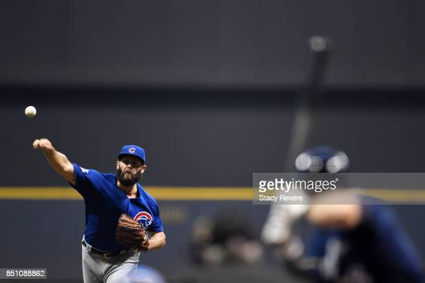 Jake Arrieta of the Chicago Cubs throws a pitch during the first inning of a game against the Milwaukee Brewers at Miller Park on September 21 2017...
