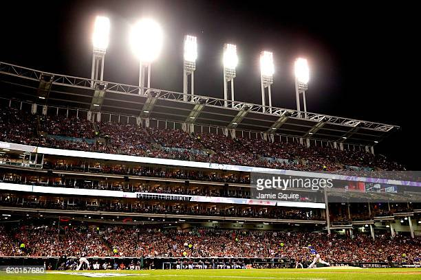 Jake Arrieta of the Chicago Cubs throws a pitch during the second inning against the Cleveland Indians in Game Six of the 2016 World Series at...