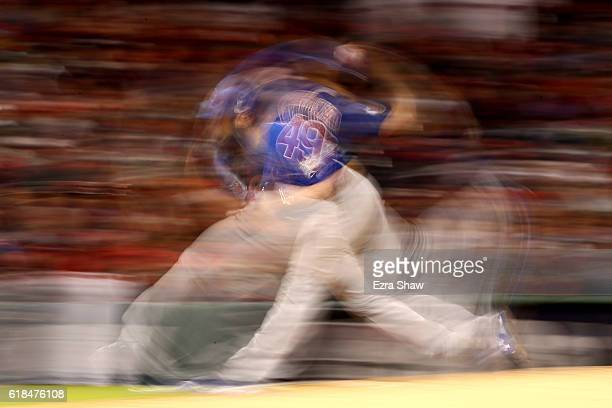 Jake Arrieta of the Chicago Cubs throws a pitch during the sixth inning against the Cleveland Indians in Game Two of the 2016 World Series at...