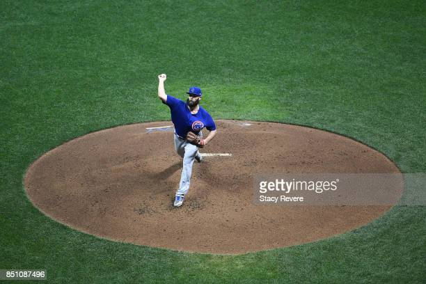 Jake Arrieta of the Chicago Cubs throws a pitch during the third inning of a game against the Milwaukee Brewers at Miller Park on September 21 2017...