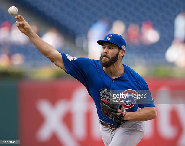 Jake Arrieta of the Chicago Cubs throws a pitch in the bottom of the first inning against the Philadelphia Phillies on September 11 2015 at Citizens...