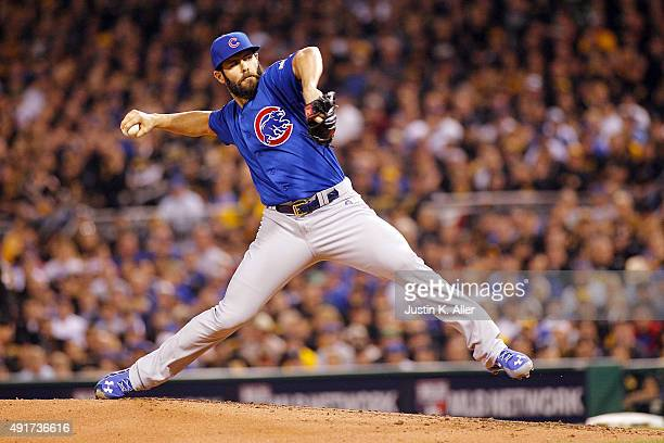 Jake Arrieta of the Chicago Cubs throws a pitch in the first inning during the National League Wild Card game against the Pittsburgh Pirates at PNC...