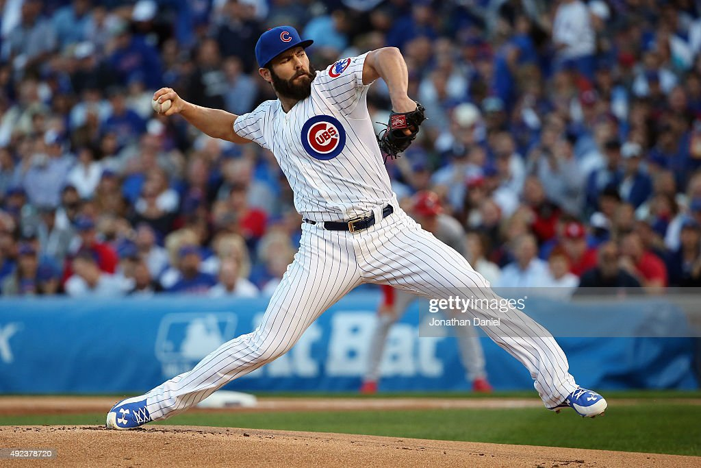 Jake Arrieta #49 of the Chicago Cubs throws a pitch in the first inning against the St. Louis Cardinals during game three of the National League Division Series at Wrigley Field on October 12, 2015 in Chicago, Illinois.