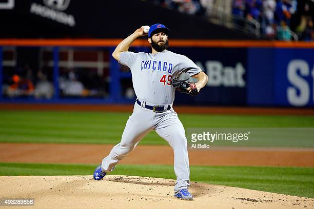 Jake Arrieta of the Chicago Cubs throws a pitch in the first inning against the New York Mets during game two of the 2015 MLB National League...