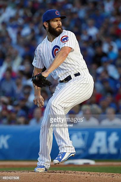Jake Arrieta of the Chicago Cubs throws a pitch in the second inning against the St Louis Cardinals during game three of the National League Division...
