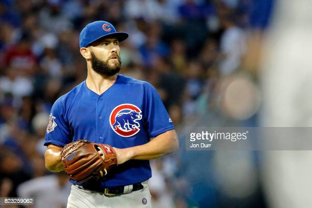 Jake Arrieta of the Chicago Cubs walks back to the dugout at the end of the third inning against the Chicago White Sox at Guaranteed Rate Field on...