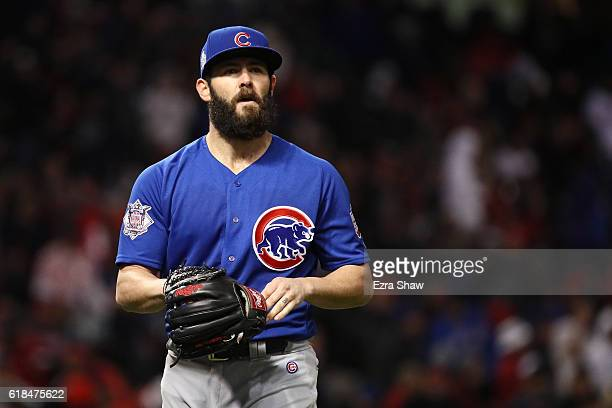 Jake Arrieta of the Chicago Cubs walks off the field after the fifth inning against the Cleveland Indians in Game Two of the 2016 World Series at...