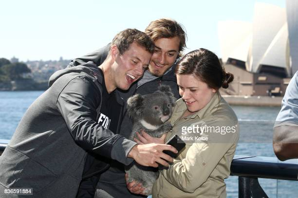 Jake Bailey and Jet Toner of the Stanford Cardinal pose for a selfie with Tabbi the koala during the 2017 US College Football Sydney Cup Launch at...