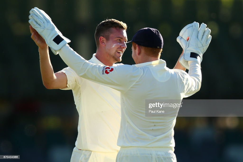 Jake Ball and Jonny Bairstow of England celebrate of Calum How of the WA XI during day two of the Ashes series Tour Match between Western Australia XI and England at WACA on November 5, 2017 in Perth, Australia.