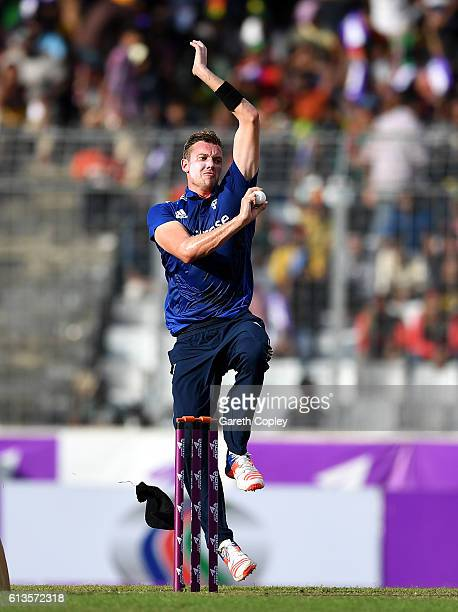 Jake Ball of England bowls during the 2nd One Day International match between Bangladesh and England at ShereBangla National Cricket Stadium on...