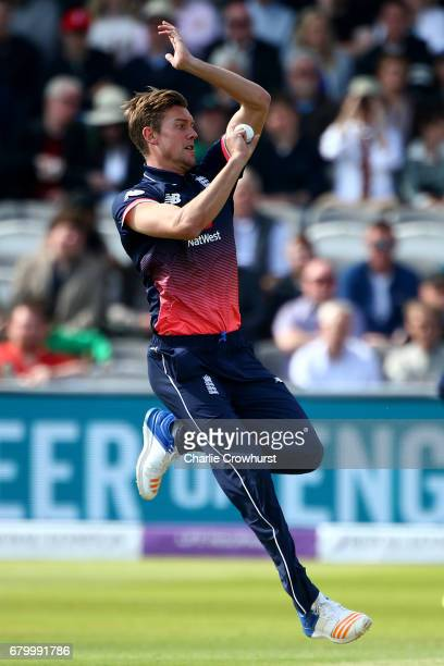 Jake Ball of England bowls during the Royal London ODI between England and Ireland at Lord's Cricket Ground on May 7 2017 in London England