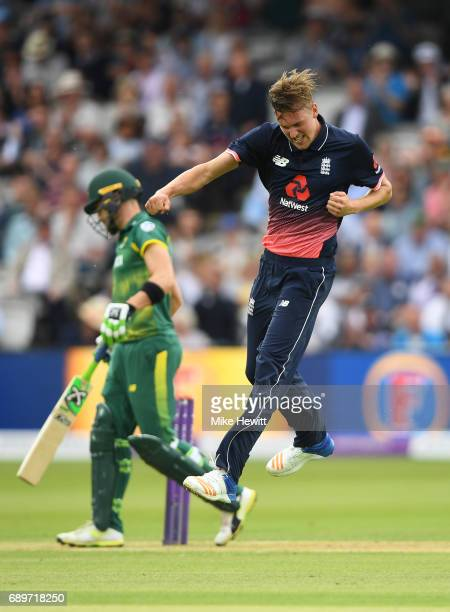 Jake Ball of England celebrates after dismissing Faf du Plessis of South Africa during the 3rd Royal London ODI between England and South Africa at...