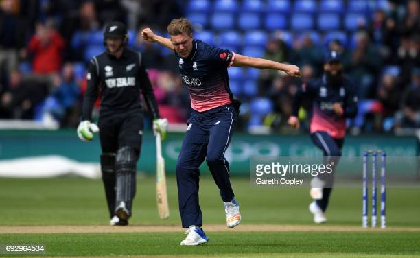 Jake Ball of England celebrates dismissing Luke Ronchi of New Zealand during the ICC Champions Trophy match between England v New Zealand at SWALEC...