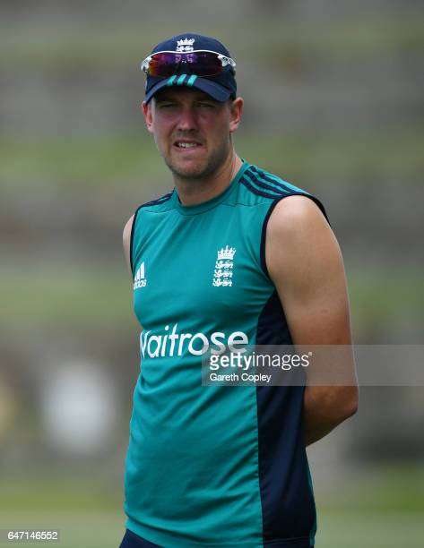 Jake Ball of England during a nets session at the Sir Vivian Richards Stadium on March 2 2017 in St Johns Antigua
