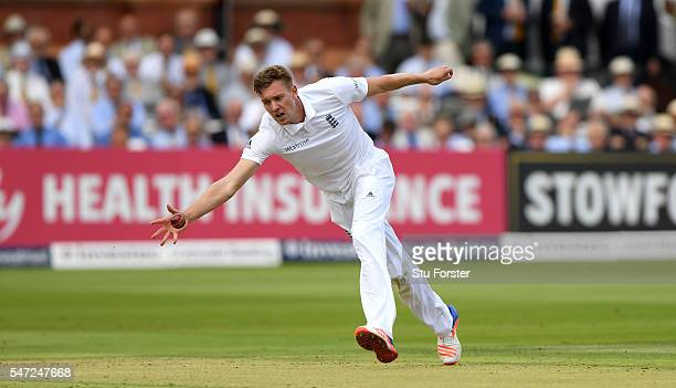 Jake Ball of England in action during day one of the 1st Investec Test match between England and Pakistan at Lord's Cricket Ground on July 14 2016 in...