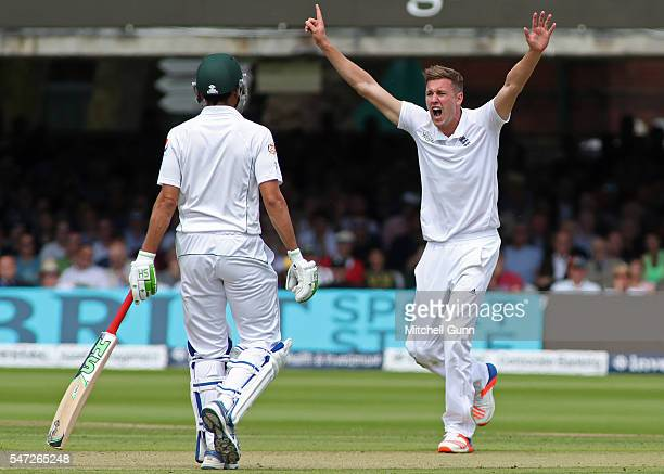Jake Ball of England makes an unsuccessful appeal for a wicket during day one of the 1st Investec Test match between England and Pakistan at Lords...