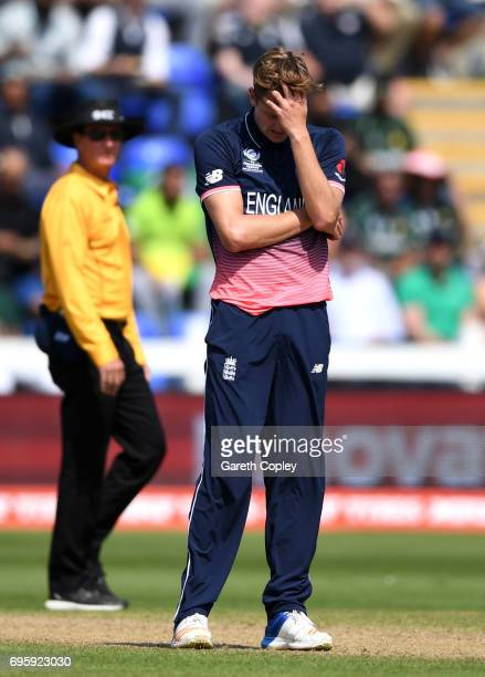 Jake Ball of England reacts after conseding a boundary during the ICC Champions Trophy Semi Final between England and Pakistan at SWALEC Stadium on...