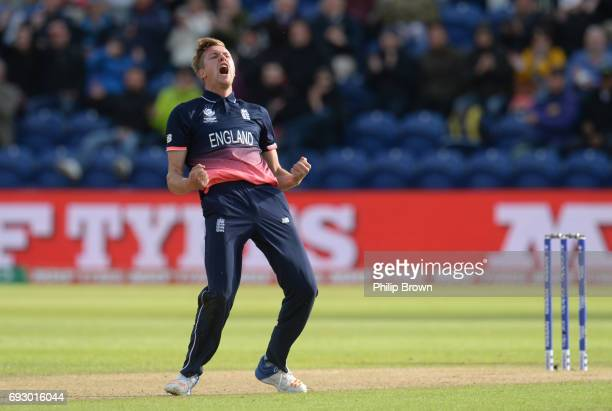 Jake Ball of England reacts after dismissing Ross Taylor of New Zealand during the ICC Champions Trophy match between England and New Zealand at...