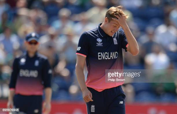 Jake Ball of England reacts during the ICC Champions Trophy match between England and Pakistan at Swalec stadium on June 14 2017 in Cardiff Wales