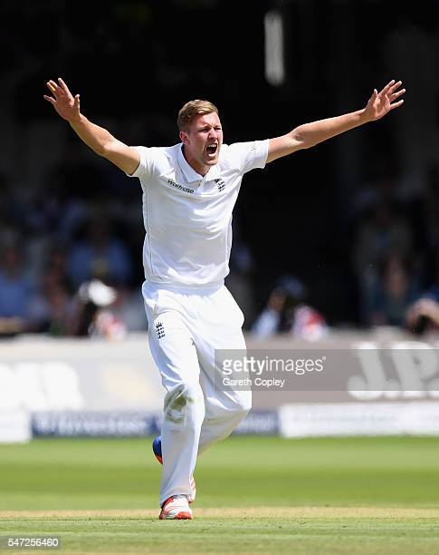 Jake Ball of England successfully appeals for the wicket of Azhar Ali of Pakistan during the 1st Investec Test between England and Pakistan at Lord's...