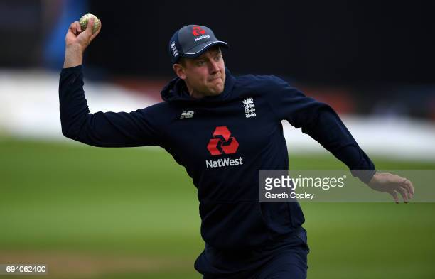 Jake Ball of England takes part in a fielding drill during a nets session at Edgbaston on June 9 2017 in Birmingham England