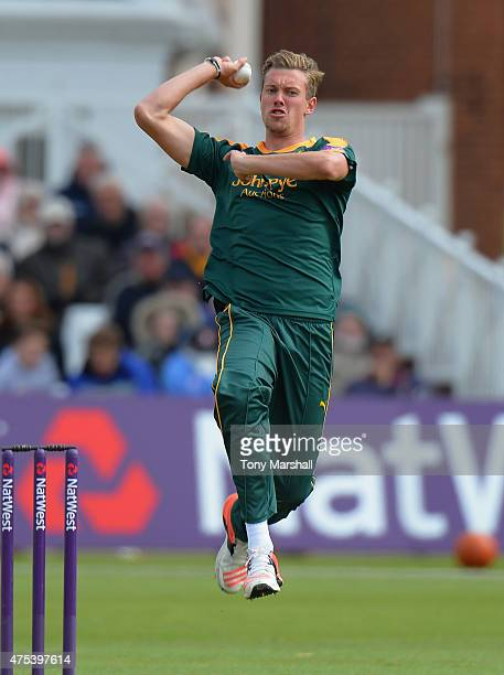 Jake Ball of Nottingham Outlaws bowls during the NatWest T20 Blast between Nottingham Outlaws and Durham Jets at Trent Bridge on May 31 2015 in...