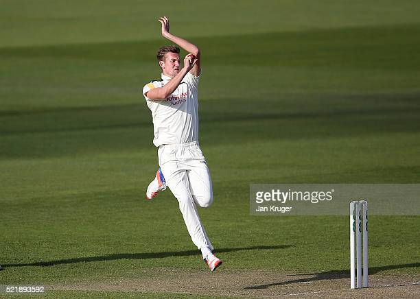 Jake Ball of Nottinghamshire bowls during day one of the Specsavers County Championship Division One match between Lancashire and Nottinghamshire at...