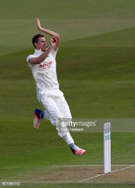 Jake Ball of Nottinghamshire bowls during Day Two of the Specsavers County Championship Division Two match between Nottinghamshire and Sussex at...