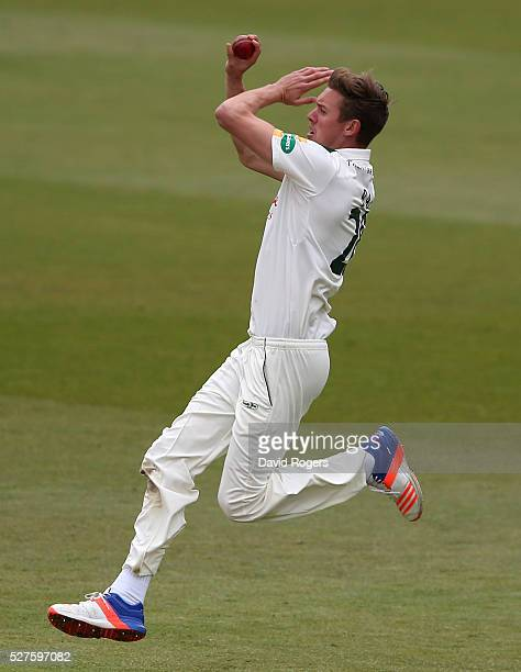 Jake Ball of Nottinghamshire bowls during the Specsavers County Championship division one match between Nottinghamshire and Yorkshire at the Trent...